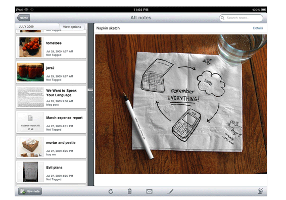 ipad-singlenote Evernote