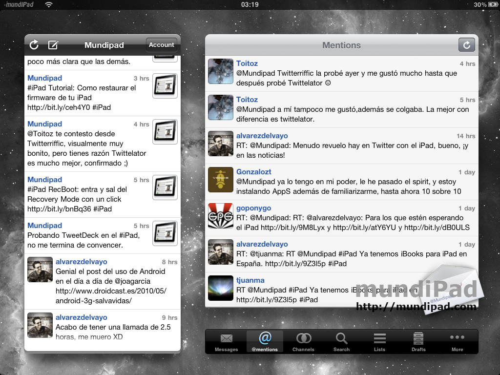 Twittelator en el iPad
