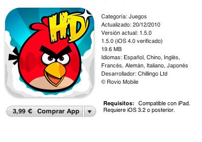 Comprar Angry Bird HD iPad