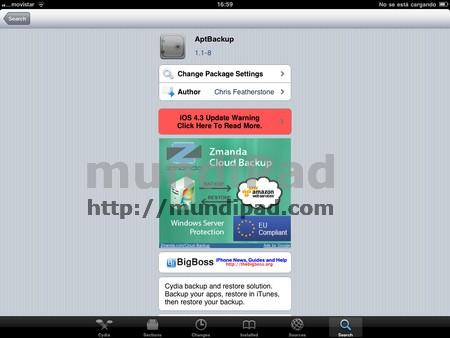AptBackup en cydia