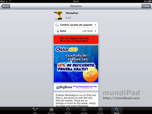 WhatsPad para iPad 3G