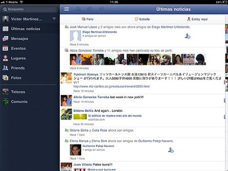Captura de pantalla de facebook para iPad