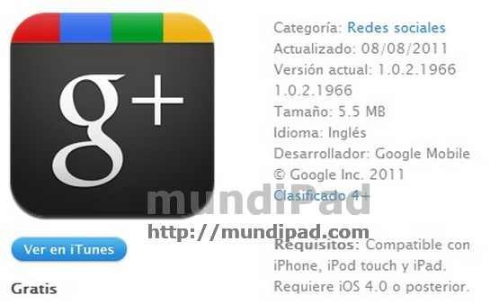 Plicación de Google+ ya disponible para iPad