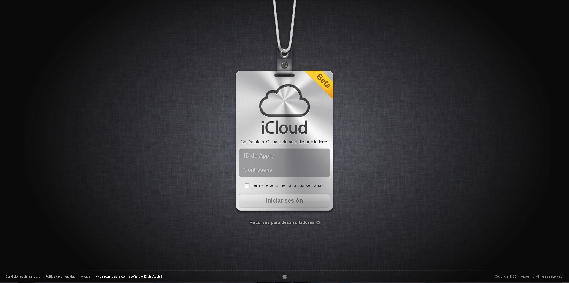 Captura de pantalla de iCoud.com