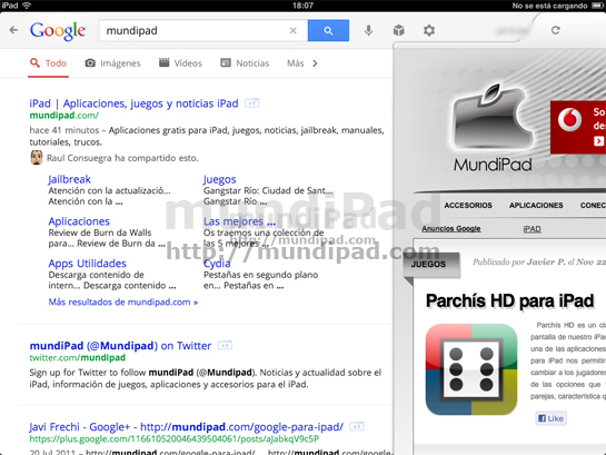 google search para ipad