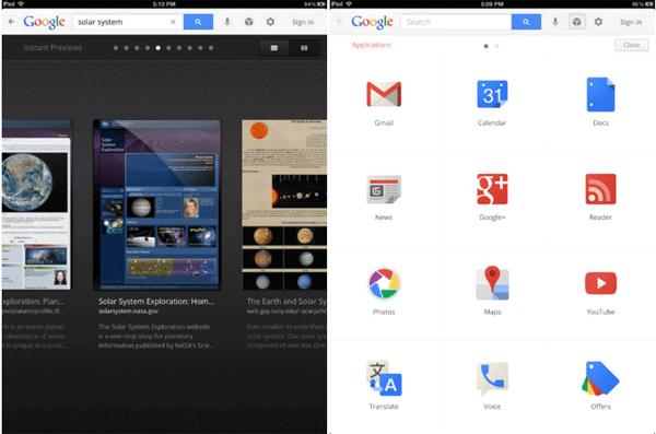 Búsqueda de Google para iPad