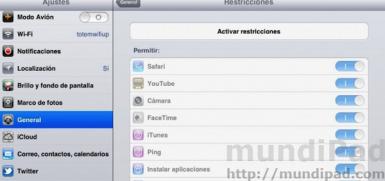 Activar restricciones en el iPad