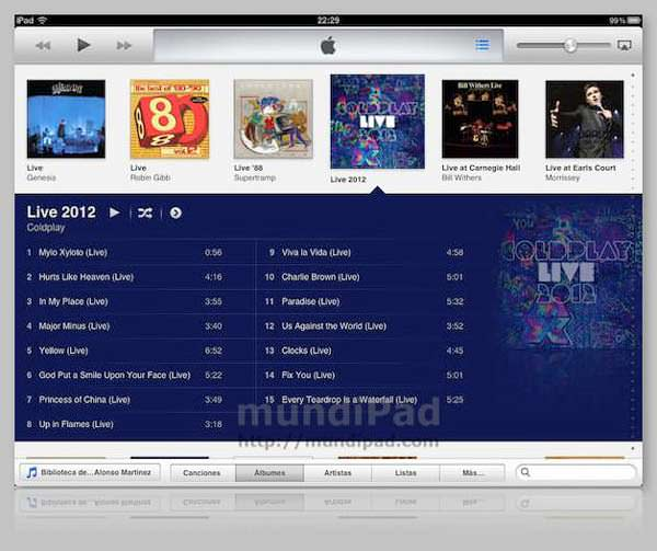 iTunes 11 en el iPad con Remote