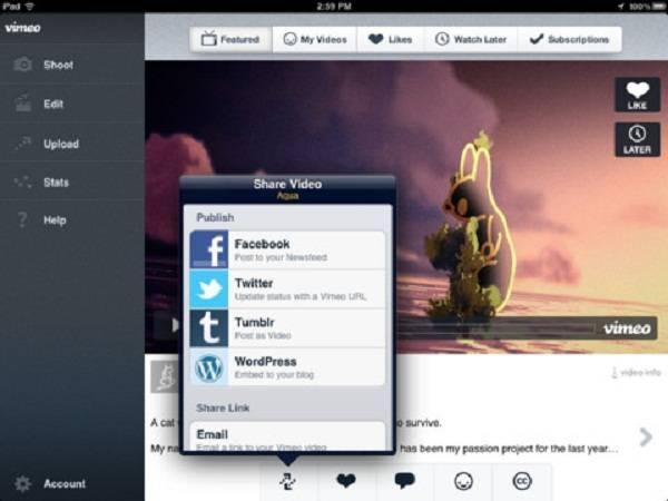 Vimeo para iPad