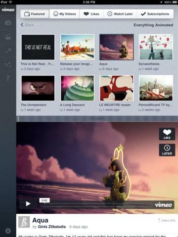 Vimeo para iPad 2
