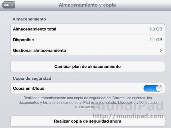 Copia de seguridad en iCloud