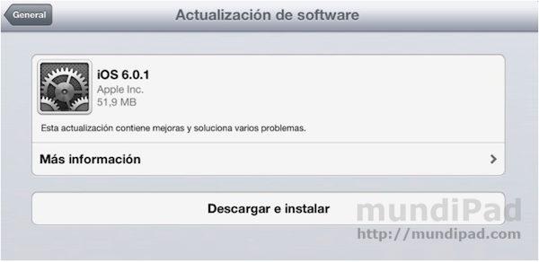 Actualización de iOS 6 a la versión 6.0.1