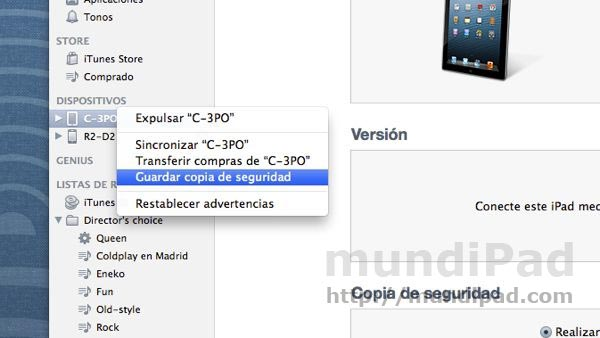 Copia de seguridad en iTunes
