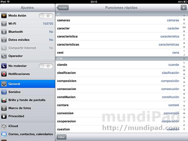 Escribe más rapido en tu iPad con la ayuda de las Funciones Rápidas