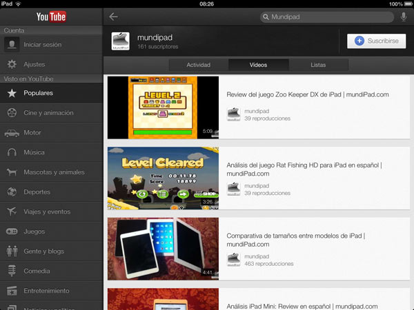 Aplicación Youtube para iPad