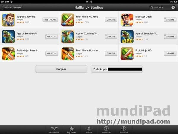 Descargar juegos gratis en el iPad