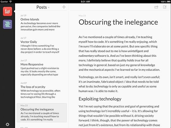 Poster la mejor forma de bloguear desde el iPad