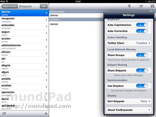 Textexpander Touch: Análisis tras una semana de uso