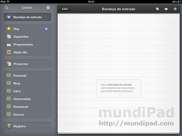 Tareas en el iPad
