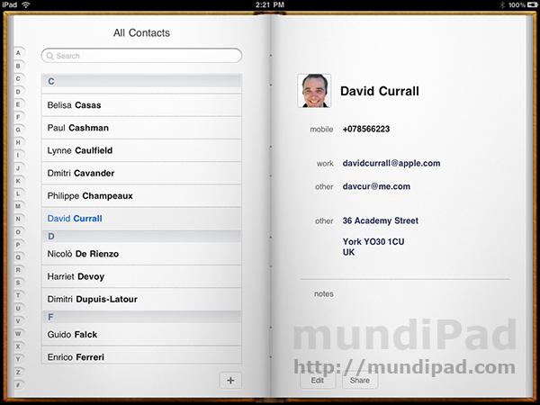 Contactos iPad