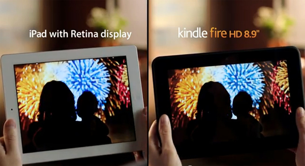 Kindle Fire HD contra iPad Retina