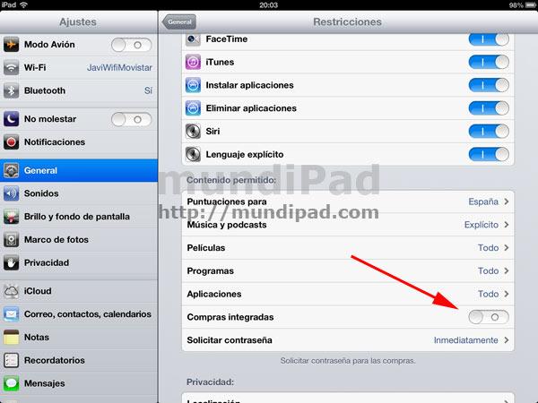 bloquear las compras in-app desde el iPad