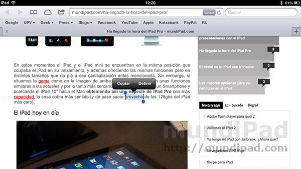 Cómo funciona el diccionario integrado en el iPad