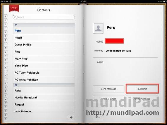 Cómo hacer una video llamada con FaceTime desde el iPad