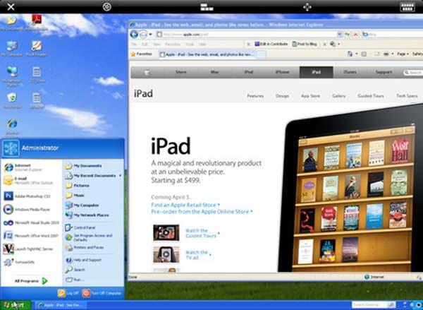 Windows XP controlado desde el iPad