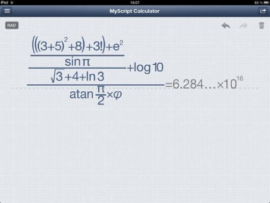 Tu calculadora a mano alzada con Myscript Calculator