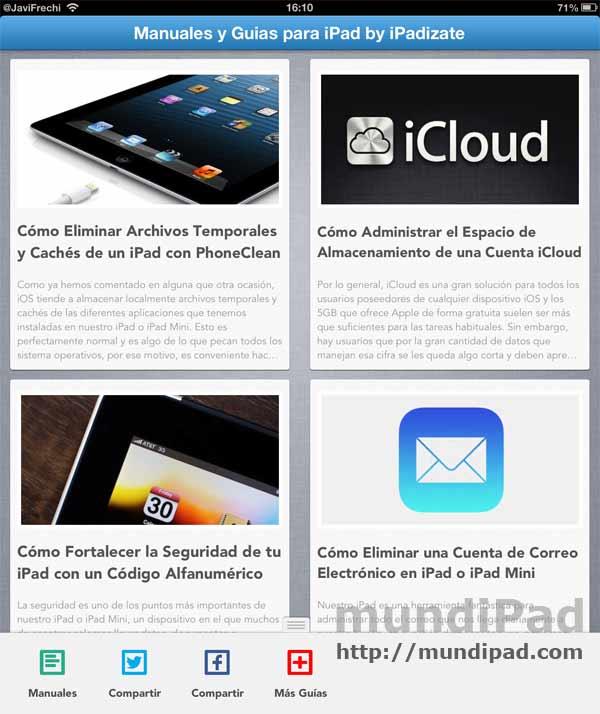 Aplicación con manuales y guías para el iPad