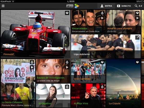 Atresplayer 02 Nueva aplicación Atresplayer para ver contenidos multimedia en directo