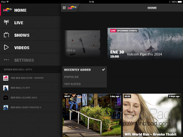 Red Bull TV llega al iPad