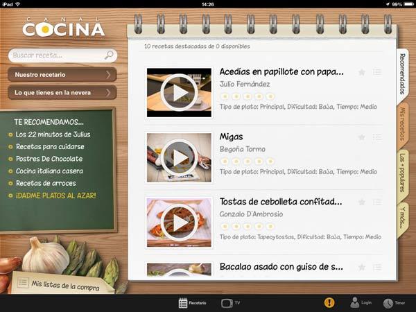 Top 4 aplicaciones de recetas para ipad for Canal cocina cocina de familia